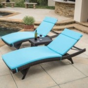 Lakeport Outdoor 3pc Adjustable Blue Chaise Lounge Chair Set