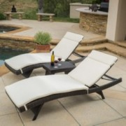 Lakeport Outdoor 3pc Adjustable Beige Chaise Lounge Chair Set