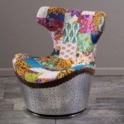 Hunter Multi-Colored Whimsical Patch Work Fabric Swivel Chair
