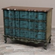 Wayne Antique Blue Green Brown 3-Drawer Cabinet