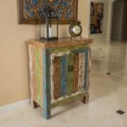 Leo Antique Dark Green Wood 2-Door Cabinet