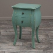 Wayne Antique Green Stained Wood 2-Drawer Side Table