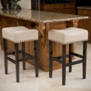 Chantal Beige Linen Fabric Bar Stools (Set of 2)
