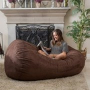 Haley French Roast Brown 6 Ft Faux Suede Microfiber Bean Bag
