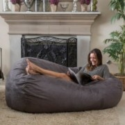 Haley Charcoal Grey 6 Ft Faux Suede Microfiber Bean Bag