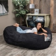 Haley Black 6 Ft Faux Suede Microfiber Bean Bag