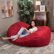 Haley Red 6 Ft Faux Suede Microfiber Bean Bag