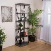 Brennon 5-Shelf Industrial Dark Tan Grey Wood Bookshelf