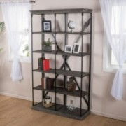 Alondra 5-Shelf Industrial Dark Tan Grey Wood Bookshelf
