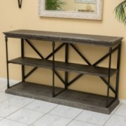 Braylon 3-Shelf Industrial Dark Tan Grey Wood Bookshelf