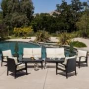 Voyage Outdoor 8pc Black Wicker Seating Set