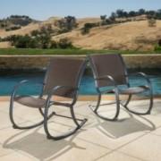 Leann Outdoor Dark Brown Wicker Rocking Chairs
