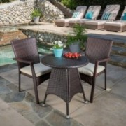 Foster Outdoor 3-piece Wicker Bistro Set with Cushions