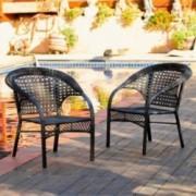 Malibu Black Wicker Outdoor Chair (Set of 2)