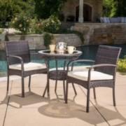 Meeker Outdoor 3-piece Wicker Bistro Set with Cushions
