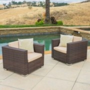 Westlake Outdoor Brown PE Wicker Sofa Club Chairs (Set of 2)