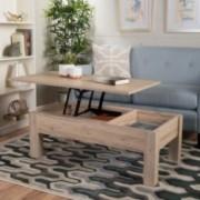 Enida Dark Brown Wood Lift Top Storage Coffee Table