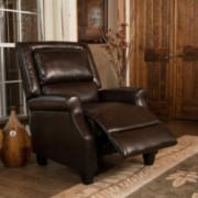 Truxton Brown Bonded Leather Recliner Club Chair