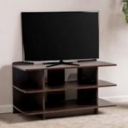 Ian 3-Tier Dark Walnut Wood TV Console Stand