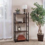 Leora 4-Shelf Industrial Dark Walnut Wood Bookshelf