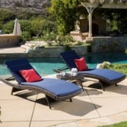 Dumont Outdoor 3-piece Wicker Adjustable Chaise Lounge Set with Cushions