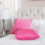 Square Hot Pink Dimple Dot Pillow (Set of 2)