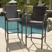 Stewart Outdoor Brown Wicker Barstool (Set of 2)