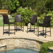 Stewart Outdoor Brown Wicker Barstool (Set of 4)