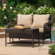 Spencer 2-piece Outdoor Brown Wicker Sofa Set with Table and Tan Cushions