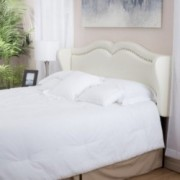 Glendon Adjustable Ivory Leather Headboard for Full/Queen