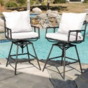 Varick Outdoor Adjustable Pipe Barstool with Cushions (Set of 2)
