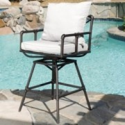 Varick Outdoor Adjustable Pipe Barstool with Cushions