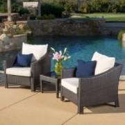 Jones Outdoor 3-piece Brown Wicker Bistro Set with Cushions