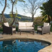Mewer Outdoor Antibes 4-piece Wicker Chat Set with Cushions
