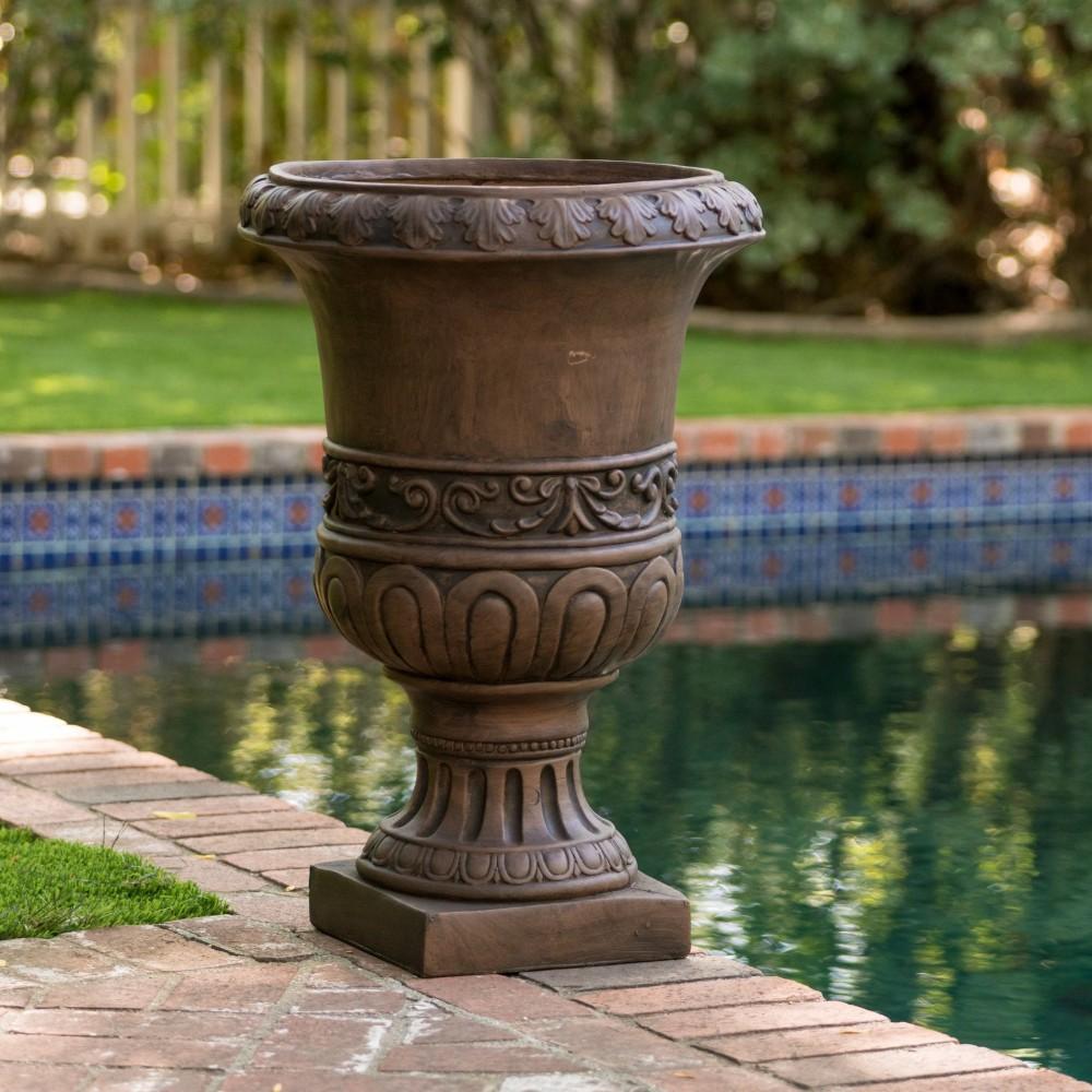 Roma 26-inch Antique Brown Urn Planter