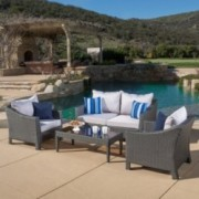 Bartlette Contemporary Outdoor 4pc Grey Polyethylene Chat Set