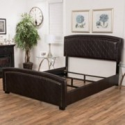 Delaney Brown Leather Queen Size Bed Set