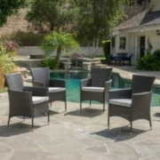 Brascha Contemporary Outdoor Gray PE Wicker Dining Chairs w/ Cushions (Set of 4)