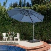 Denise Austin Home Bay Outdoor 9.8-foot Blue Lavender Canopy Umbrella with Base