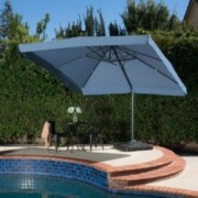 Denise Austin Home Atlantic Outdoor 9.8-foot Canopy Umbrella with Base-Lavender