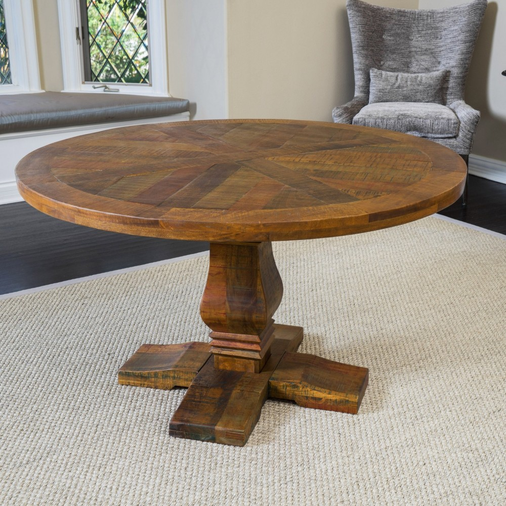 trevor rustic design round mango wood dining table
