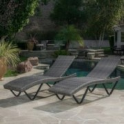 Zanna Outdoor Wicker Chaise Lounge Set of Two